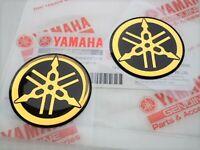 2 x YAMAHA 45MM TUNING FORK LOGO BLACK GOLD DECAL EMBLEM STICKER
