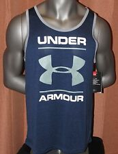 Men's Under Armour Heat Gear Tank Blue Athletic Shirt Small
