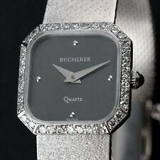 Stunning Vintage Bucherer Solid 18K White Gold & Diamond Ladys Bracelet Watch NR