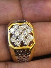 Stunning 0.85 Cts Natural Diamonds Men's Engagement Ring In Fine 14K Yellow Gold