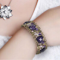 Lady Women Beautify Fashion Rhinestone Gold-plated Purple Heart Retro Bracelet A