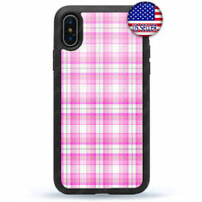 New Pink Plaid iPhone X Xs Max XR 8 7 6 5 4 Plus Case Cover Slim Hard Rubber