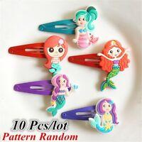 10Pcs/lot Cute Girl Hairpins Cartoon Mermaid BB Hair Clips Child Barrettes Band