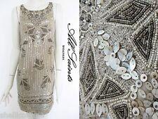 STUNNING WOMENS ALL SAINTS SHELL DRESS HAND EMBELLISHED SEQUIN BEAD 6 CHALK £375