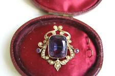 FINE ANTIQUE EDWARDIAN 9CT GOLD 6.0CT AMETHYST & SEED PEARL PENDANT BROOCH 5.8G