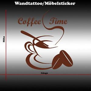 Wandtattoo Wandsticker Wandaufkleber Coffee Time Möbelaufkleber Kaffee Café