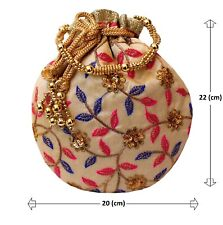 Fancy Look Potli Bag Pearl Handle Embroidered Silk Emb.Both Side Potli-1