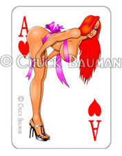 Sexy Pin-Up Girl playing card sticker Jessica Rabbit gift wrapped Guitar Art R