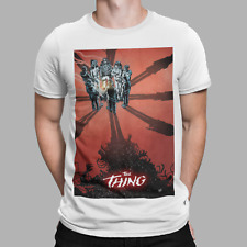 The Thing T-Shirt 1980s Retro Movie Poster Aliens Antarctic Horror Halloween Red