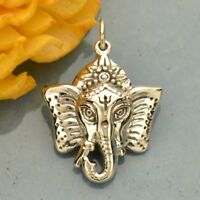 925 Sterling Silver Ganesh Elephant Head Hindu Buddhist Pendant Necklace 6018
