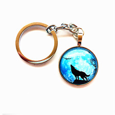 Vintage wolf Keychain Cabochon Tibetan silver Glass Metal Key Ring L BLUE
