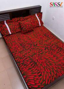 African Print Duvet Set - Duvet Cover - Ankara Bedding - Red African Print