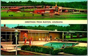 Ruston, Louisiana Postcard HOLIDAY INN MOTEL Aerial & Pool Views Roadside 1960s