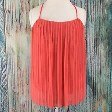 XXI Women's A0416 Pleated Cropped Tank Top Size M Coral