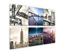 6x30x30cm LEINWANDBILDER NEW York Straßenschilder Vintage Skyline Sinus Art