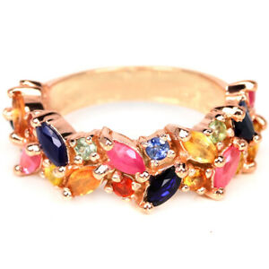 GENUINE MULTI COLOR SAPPHIRE MARQUISE & ROUND STERLING 925 SILVER RING SIZE 7.75
