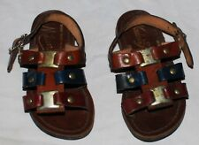 Vintage Child Toddler Brown Leather Sandals Mid Century Milan Italy 5 6 Buckle