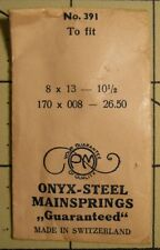 NOS PM ONYX-STEEL Watch Mainspring No 391 8 X 13 10 1/2 Metric 170 X 008 X 26.50