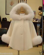 Children's Ivory Cashmere Hooded Coat White Fox Fur Trim Beautifully Canadian