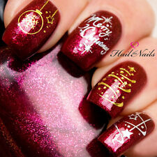 Christmas Nail Wraps Water Transfers Decal Gold & Silver Nail Art Y051 Stars