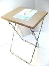 Small Folding Foldable Occasional TV Table Tea Coffee Bed Side With Metal Legs N