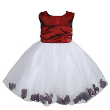 New Flower Girl Party Bridesmaid Pagent Dress in Burgundy,Hot Pink 9M - 4 Years