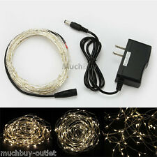 Warm White 10M 100 LED Copper Wire LED String Fairy Lights 5V + AC Adapter NEW