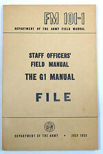 Army Field Training Manual - FM 101-1 Staff Officer's Field Manual THE G1 MANUAL