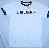 I Love Beer 4 Leaf Clover Irish Drinking St. Paddy's Day T-shirt NWT NEW MEDIUM