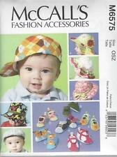 McCALL'S SEWING PATTERN FASHION ACCESSORIES INFANTS HATS & SOFT SHOES M6575
