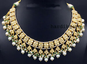 22k Solid Gold Natural Diamond Polki With Pearl Thappa Necklace Set Jewelry