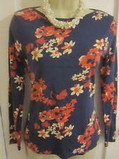 Ladies size 8 George navy blue with burnt orange cream floral long sleeve top