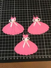 "Scrapbooking Die cut Pink Dress With Bows Shape "" X 3"