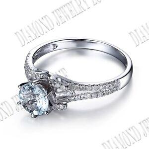 Split Shank Round 6.5mm Aquamarine Real Diamond Gemstone Engagement Silver Ring
