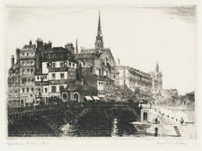 A fine Paris etching by American artist Franklin Whiting, pencil signed