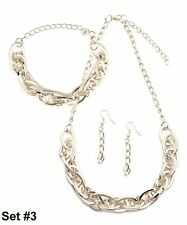 Large Silver Chunky Chain Link Necklace Bracelet And Earring Set #3