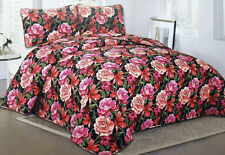 NWT RED PINK ROSES FLOWERS 3 PC QUILT SHAMS BEDSPREAD FLORAL SET FULL BED DECOR