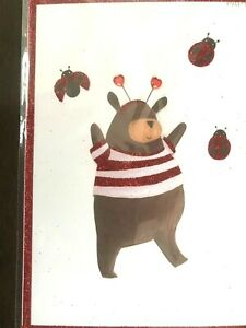 Papyrus Valentine's Day Card - Brown bear & ladybugs You make my heart go silly