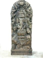 Ganesh Ganesha Sculpture Statue Wall Panel Hindu Temple Figurine Handcarved Idol