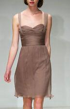 AMSALE ~ Tan Silk Chiffon Sweetheart Sleeveless Party Dress 4 NEW $280