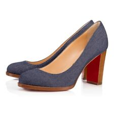 NIB Christian Louboutin London Buche 85 Denim Blue Brown Block Heel Pump 39