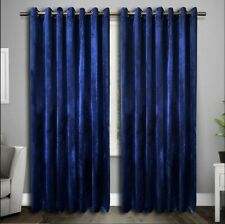 Eyelet Curtains Ring Top Plush Velvet ReadyMade Lined ITALY PLAIN Navy Pink Gold