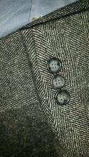 46L Marrón Negro con Peluche Lana Camel Pelo Tweed en Espiga Chaqueta Americana