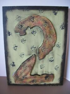 """3D Industrial Cut Metal Number 16"""" x 12"""" Wall Decor Green Spotted #2"""