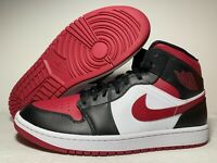 Nike Air Jordan Retro 1 Mid Bred Toe Sneaker 554724-066 Black Red 100% Authentic