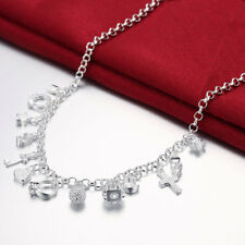 Wholesale925 Sterling Sliver Filled Clear Zircon Cross Love Heart Chain Necklace