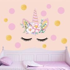 Glitter Gold Pink Unicorn Dot Wall Stickers kids Girl Cartton Fairy Room Decor