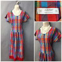 Vintage St Michael M&S Red & Blue Check Dress UK 12 EUR 40 Made in UK
