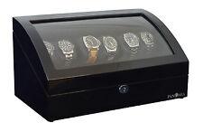 Pangaea Q650 Six Watch Winder with LED Light Black 6 Watches Mabuchi Motors