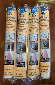 """New Pellon 805 wonder-under iron on adhesive. 4 packs of 15"""" x 2 yds for Fabric"""
